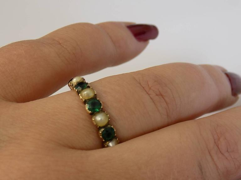 15K Georgian Gold Emerald Paste and Pearl Ring For Sale 2
