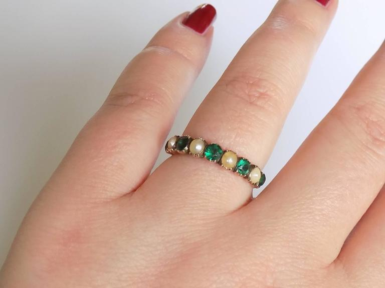 15K Georgian Gold Emerald Paste and Pearl Ring For Sale 1