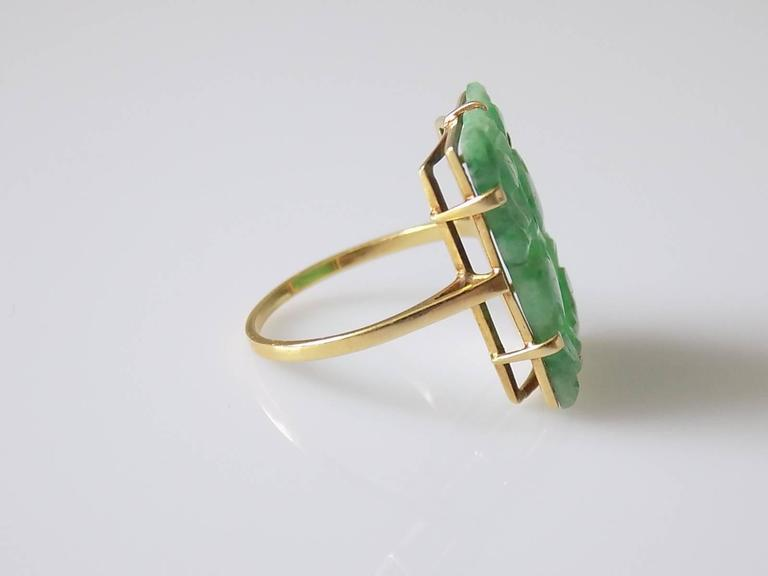 fae5f76e59aae 15K Art Deco carved Jadeite Jade Gold Ring