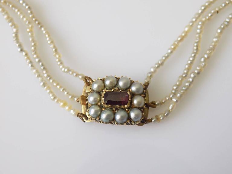56533beb7b9f1 Georgian Gold Three Row Seed Pearl Choker Necklace