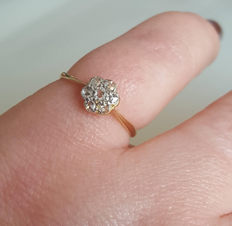 Edwardian Rose Cut Diamond Cluster Ring at 1stdibs