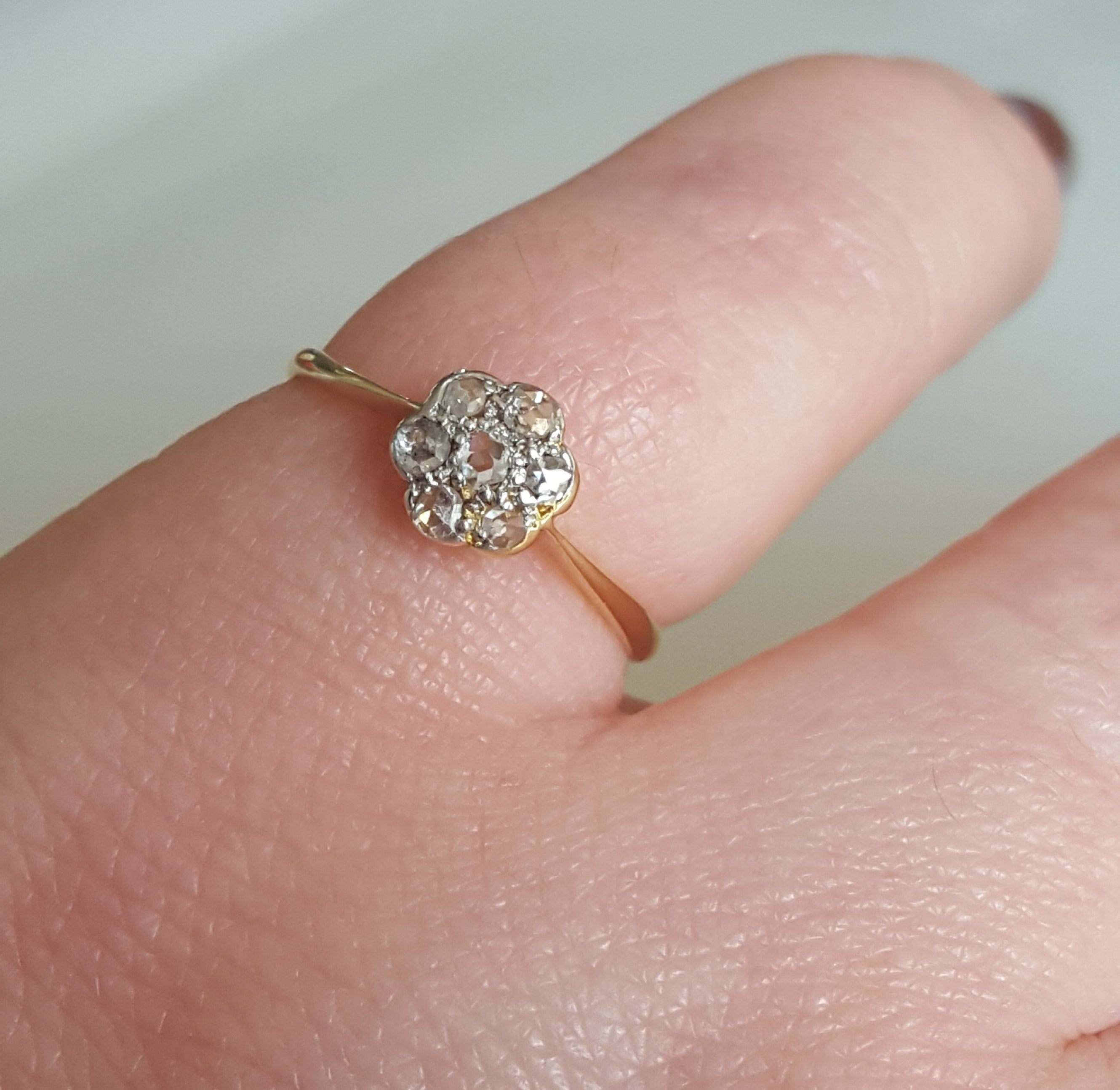 Edwardian Rose Cut Diamond Cluster Ring at 1stdibs