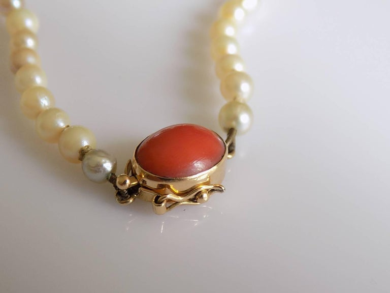 Art Deco 1920s Gold Coral Cultured Pearl Necklace For Sale 1