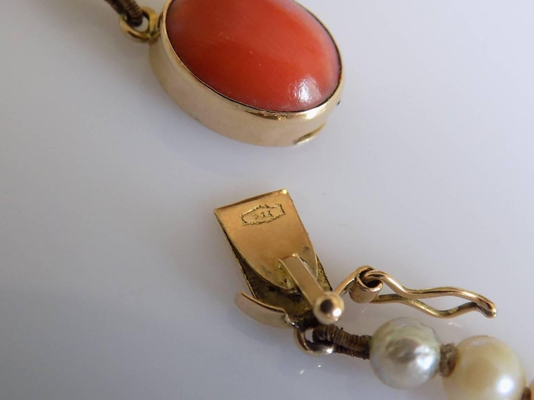 Art Deco 1920s Gold Coral Cultured Pearl Necklace For Sale 2