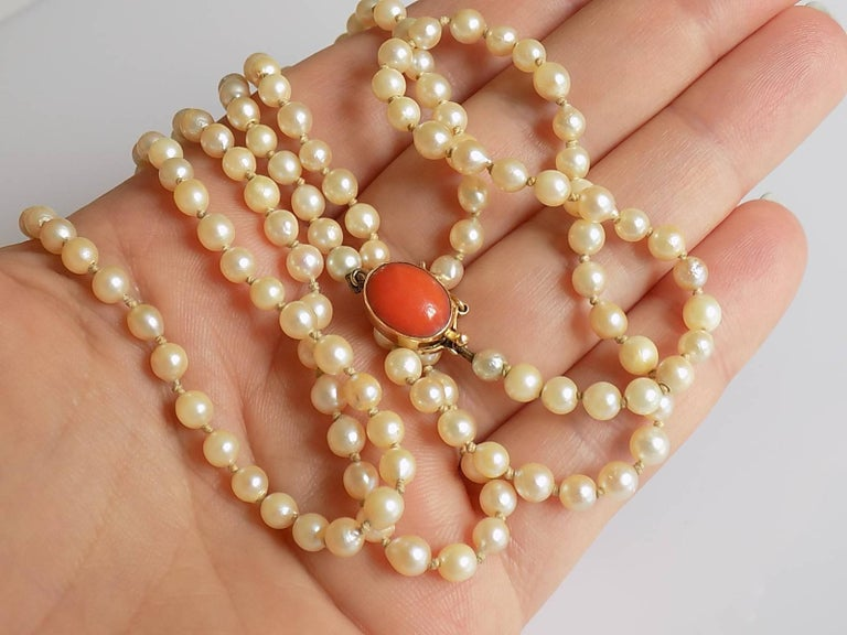 Art Deco 1920s Gold Coral Cultured Pearl Necklace For Sale 3