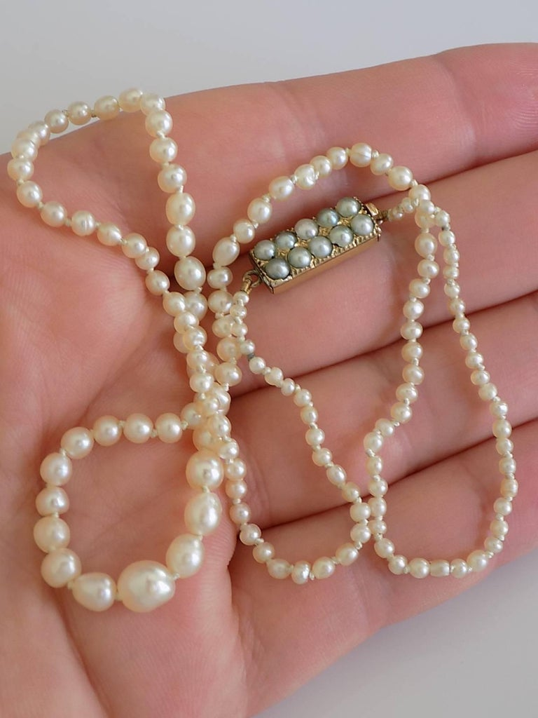 Victorian Asprey Natural Seed Pearl Gold Necklace 6