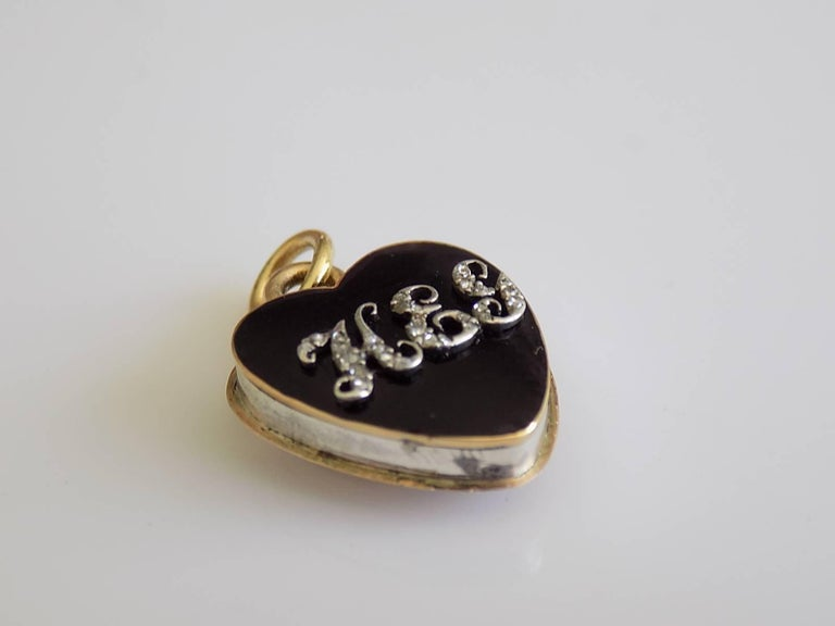 An One of a Kind Georgian c.1810 black enamel and rose cut Diamond heart locket pendant in Silver and Gold with initials HEG and filled with crystals. English origin. Total drop including jump rings 18mm, width 14mm. Unmarked, tested Silver and 18