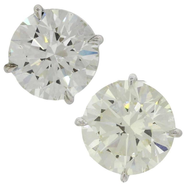 14 Karat Solid White Gold 7.76 Carat Diamond Stud Earrings GIA EGL 1