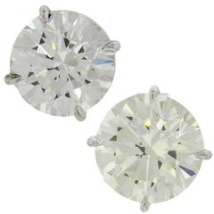 14 Karat Solid White Gold 7.76 Carat Diamond Stud Earrings GIA EGL