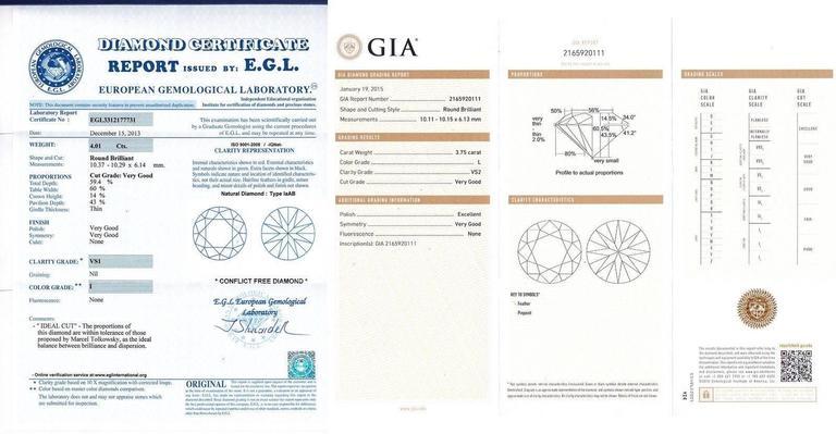 14 Karat Solid White Gold 7.76 Carat Diamond Stud Earrings GIA EGL 7