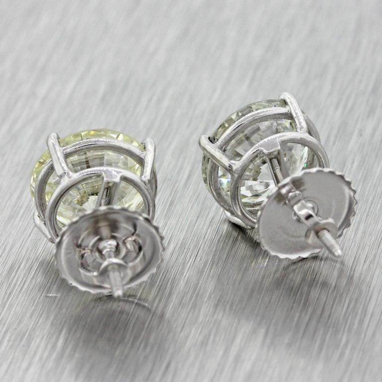 14 Karat Solid White Gold 7.76 Carat Diamond Stud Earrings GIA EGL 3