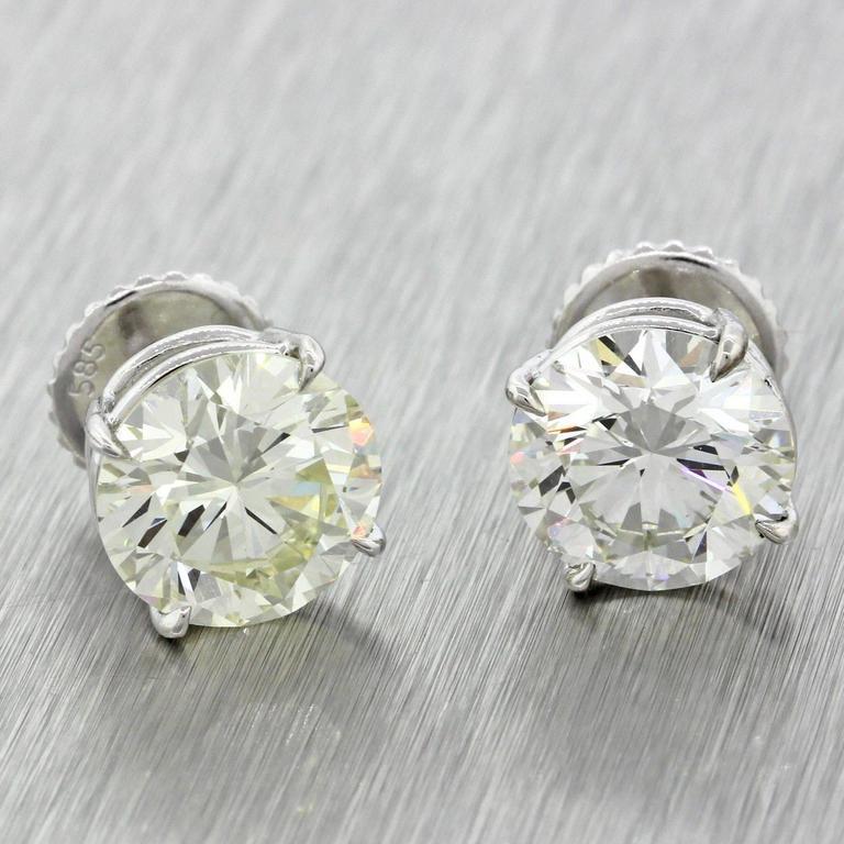 14 Karat Solid White Gold 7.76 Carat Diamond Stud Earrings GIA EGL 2