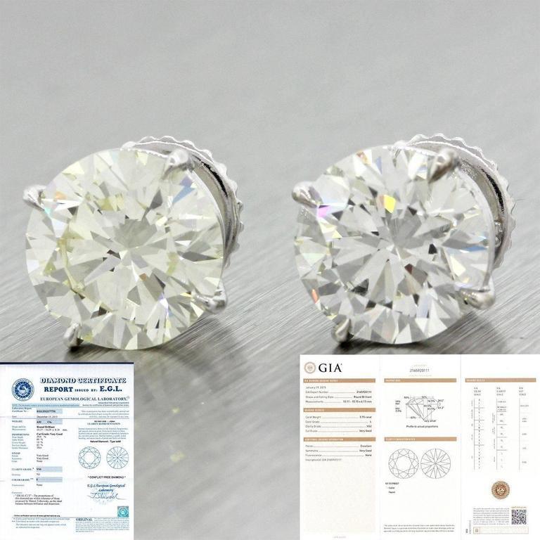 14 Karat Solid White Gold 7.76 Carat Diamond Stud Earrings GIA EGL 4