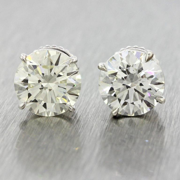 14 Karat Solid White Gold 7.76 Carat Diamond Stud Earrings GIA EGL 6