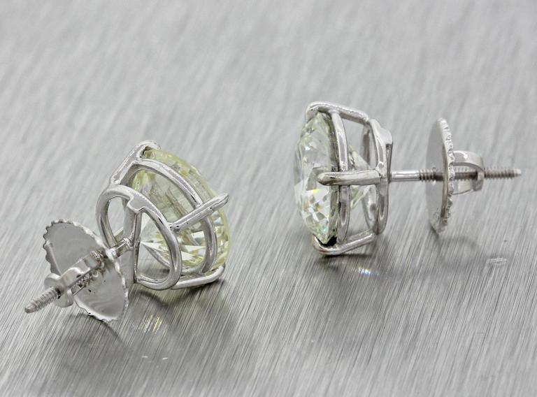 14 Karat Solid White Gold 7.76 Carat Diamond Stud Earrings GIA EGL 9