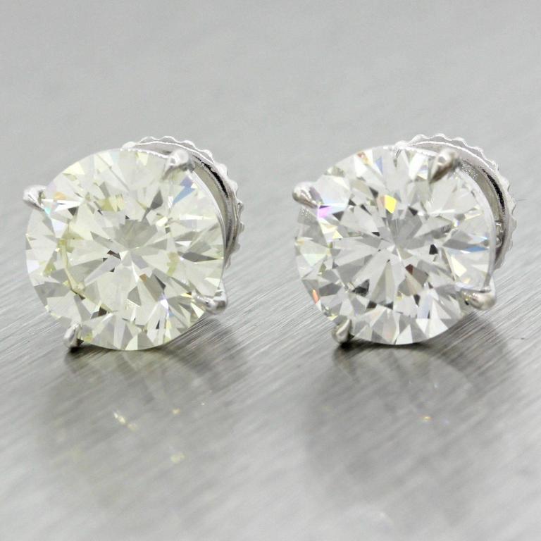 14 Karat Solid White Gold 7.76 Carat Diamond Stud Earrings GIA EGL 10