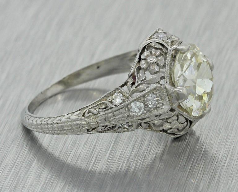 1920s Antique Art Deco 2 04 Carat Diamond Platinum