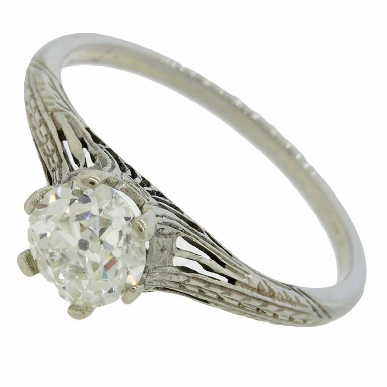 Art Deco 85 Carat Old European Diamond white gold Filigree Engagement Ring F