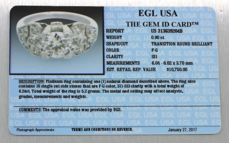 1930s Art Deco 1.14 Carat Diamond Platinum Cluster Engagement Ring EGL 5
