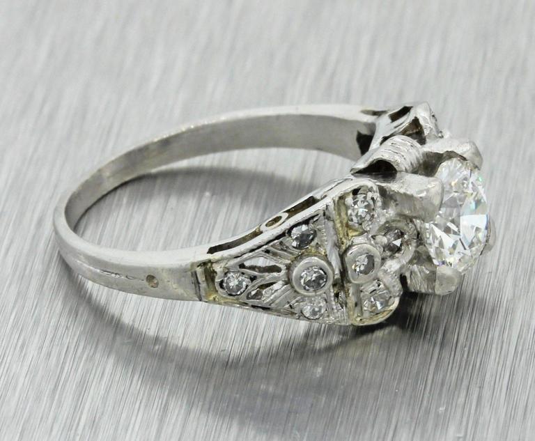 1930s Art Deco 1.14 Carat Diamond Platinum Cluster Engagement Ring EGL 2