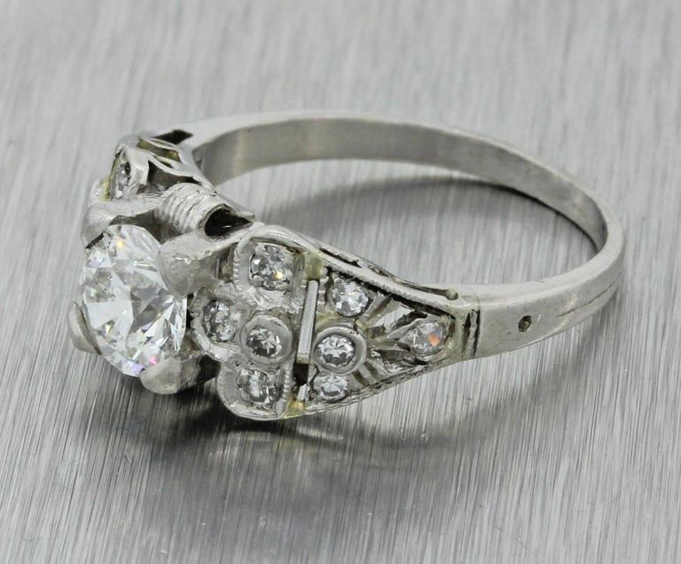 1930s Art Deco 1.14 Carat Diamond Platinum Cluster Engagement Ring EGL 3