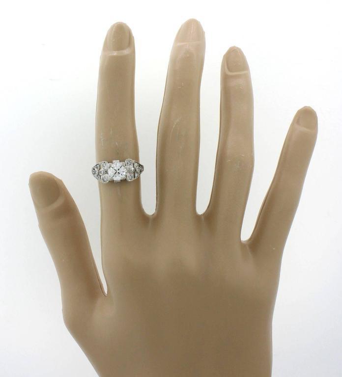 1930s Art Deco 1.14 Carat Diamond Platinum Cluster Engagement Ring EGL 6