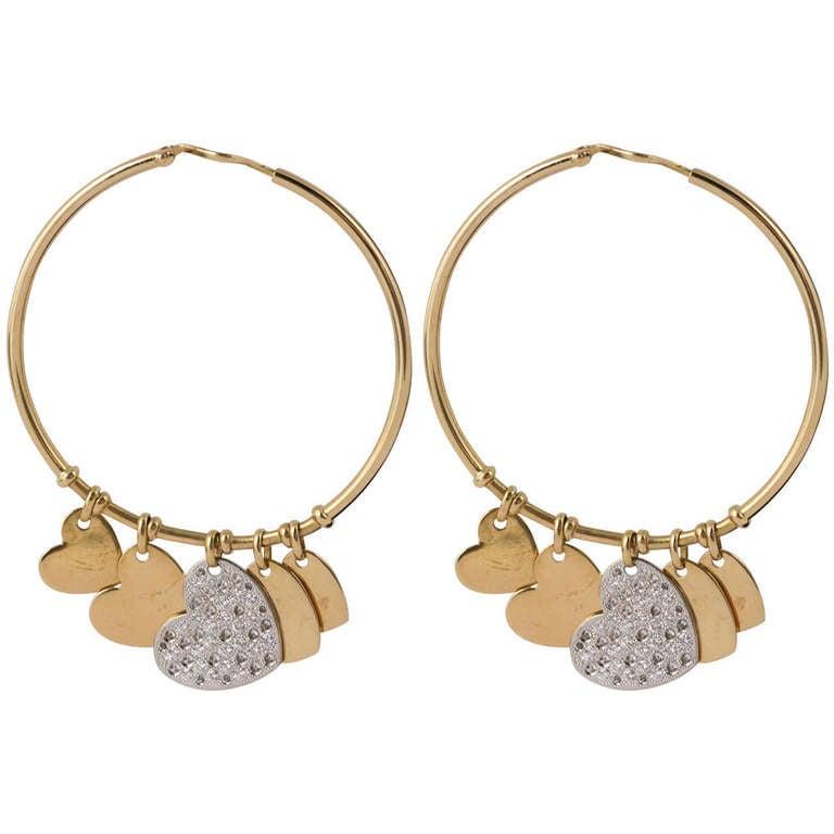 Dior Diamond Gold Hoop Heart Earrings