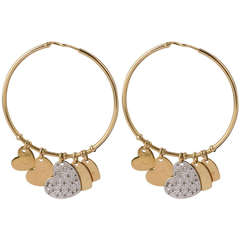 Dior Diamond Gold Hoop Heart Earrings