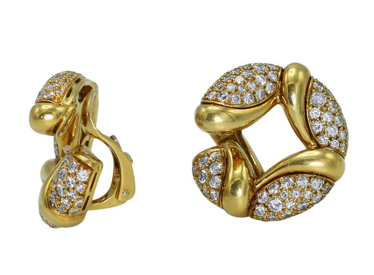 Bulgari Diamond Gold Hoop Earclips 2