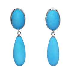 Natural Turquoise and White Gold Pendant Earclips