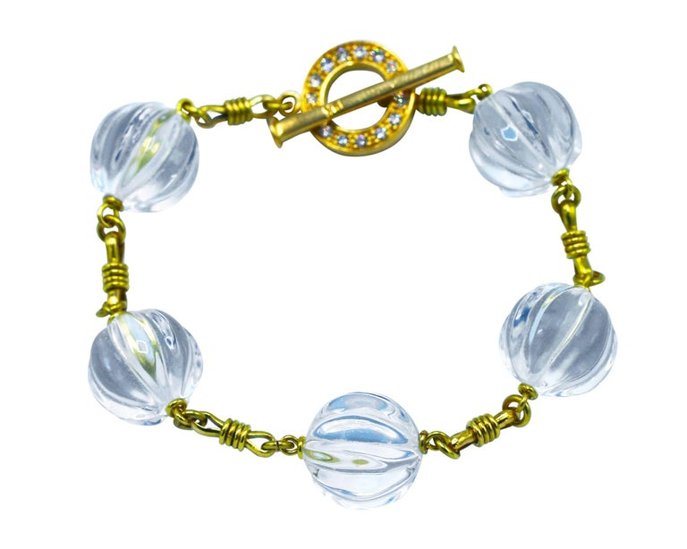 Rock Crystal, Diamond and Gold Bracelet 2