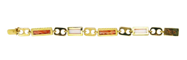 Women's or Men's 1970s Italian Pink Coral and Gold Bracelet For Sale