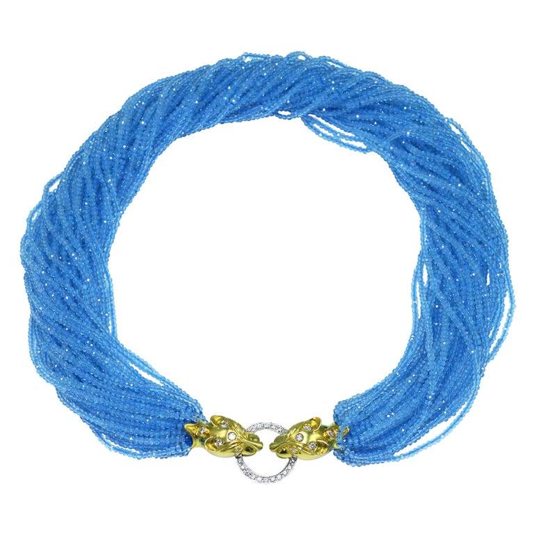 Topaz Bead, Gold and Diamond Torsade Necklace