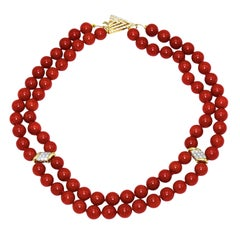 Coral Bead Double Strand Necklace