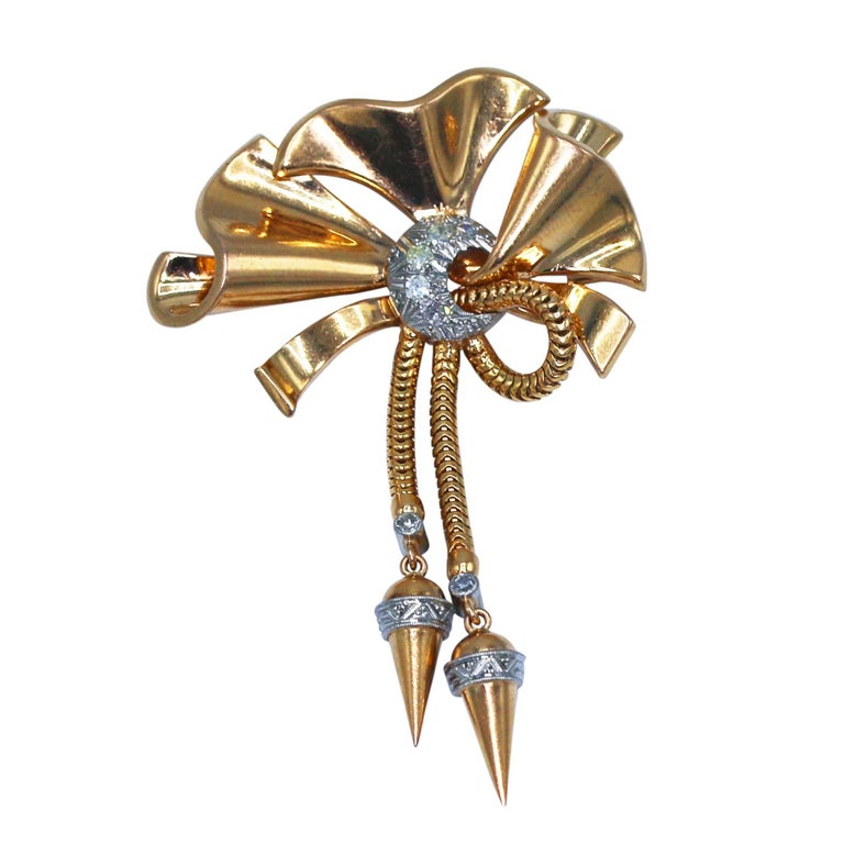 1940s Diamond and Gold Bow Brooch
