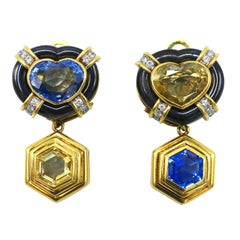 Yellow and Blue Sapphire, Diamond and Hematite Day and Night Earclips