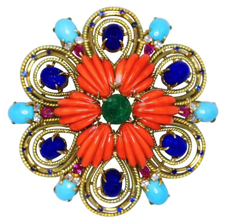 1970s Colored Stone, Diamond and Gold Pendant or Brooch