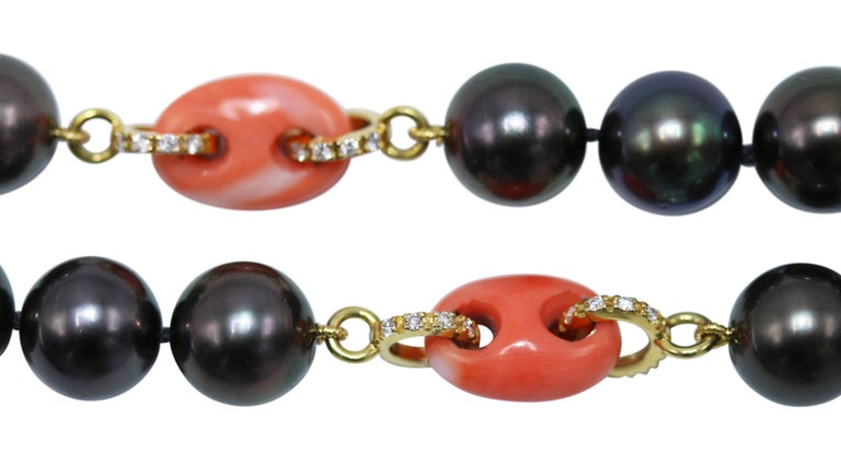 Round Cut Tahitian Pearl, Natural Coral and Diamond Necklace For Sale