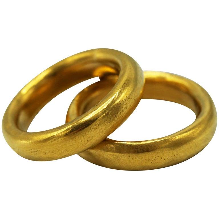 Pair Of 24 Karat Gold Handmade Band Rings For