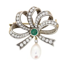 Vintage Diamond, Emerald and Pearl Bow Brooch, circa 1940s