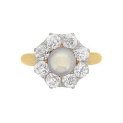 Late Victorian Natural Pearl and Diamond Cluster Ring, circa 1910