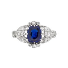 Late Victorian 1.60 Carat Sapphire and Diamond Cluster Ring, circa 1900s