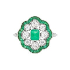 Art Deco Emerald and Diamond Cluster Ring, circa 1920s
