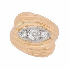 Art Deco French Bombe Diamond Ring, circa 1920s