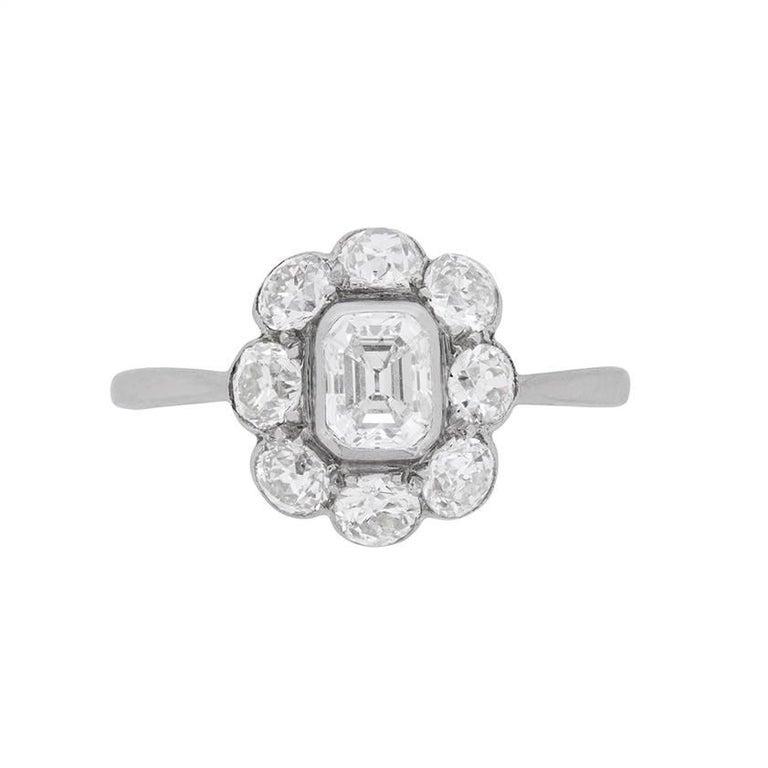 Art Deco Emerald Cut Diamond Cluster Ring, circa 1920s