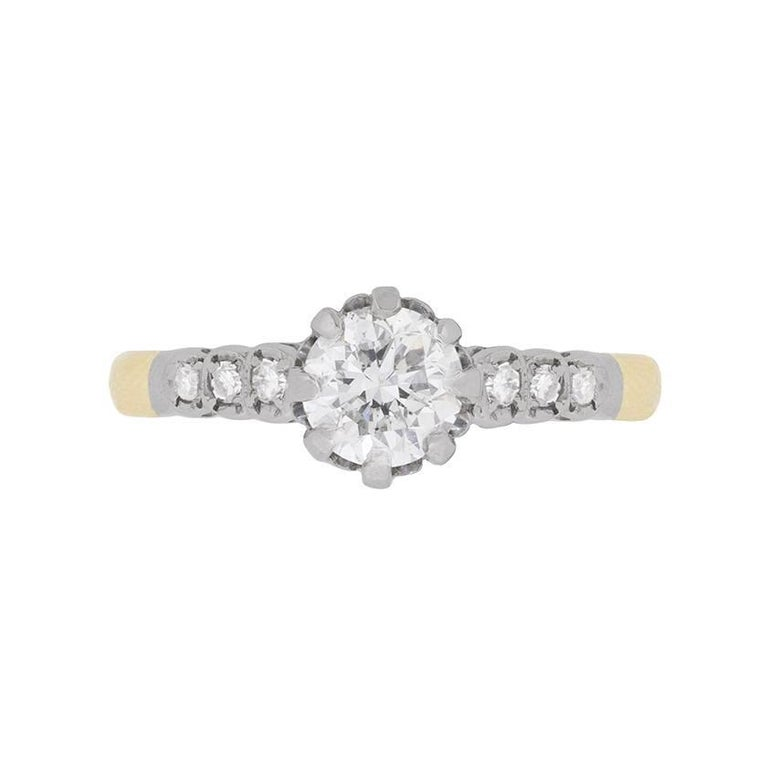 Late Art Deco Diamond Solitaire Engagement Ring, circa 1940s