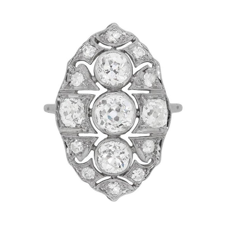 Early Art Deco Diamond Cluster 'Boat' Ring, circa 1920s