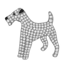 Art Deco Fox Terrier Diamond and Onyx Brooch, circa 1920s