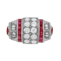 Late Deco Diamond and Ruby Cocktail Ring, circa 1940s