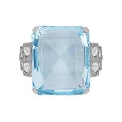 Art Deco Aquamarine and Diamond Dress Ring, circa 1920s